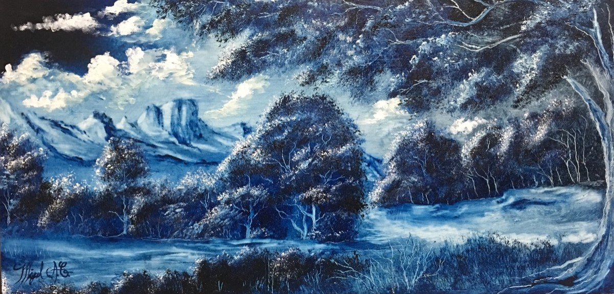 Blue Night Dreams, needs material , 24 in x 12 in - $160.00-cropped