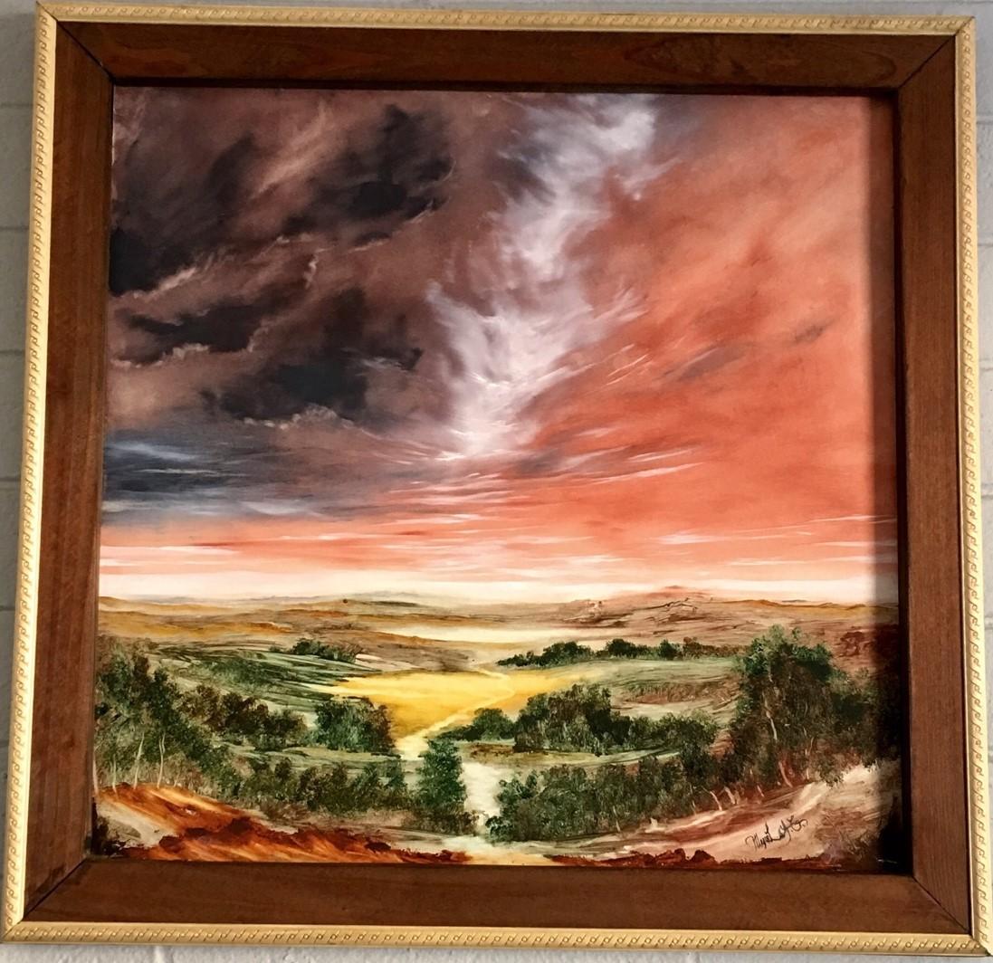 Esperame, óleo en panel, 25 in. x 24 in. $400.00 - frame included, cuadro incluído - cropped