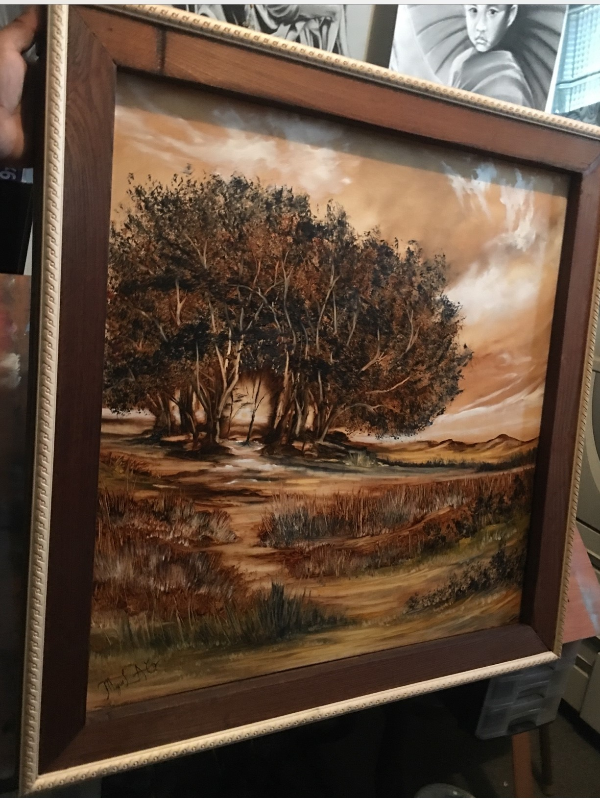 Mi jornada, óleo en panel de madera, 25 in. x 24 in. - NFS, no está en venta - cropped